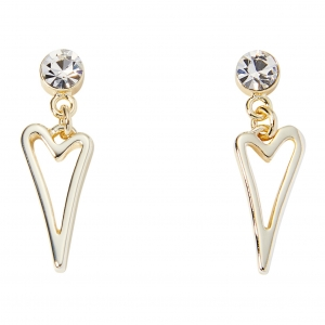 1800680- Miss Dee Gold Plated Hollow Heart Drop With Crystal Stud