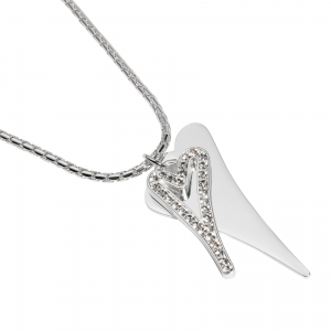1800687- Miss Dee Long 70cm silver fashion necklace with silver drop hearts