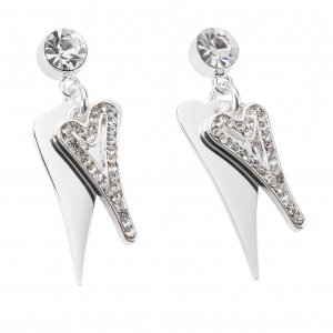 1800690-Miss Dee Boo Style Heart Silver Plated Drop Earrings with Two Hearts and Czech Crystals