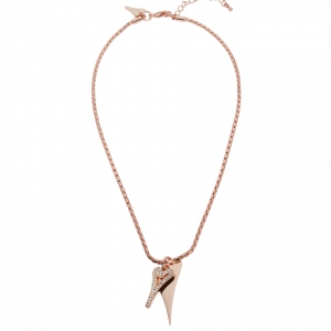 1800692-Miss Dee Rose Gold Boo Style Heart Necklace With Modern Chain And Czech Crystals