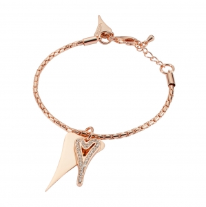 1800693-Miss Dee Rose Gold Boo Style Heart Bracelet With Modern Chain And Czech Crystals