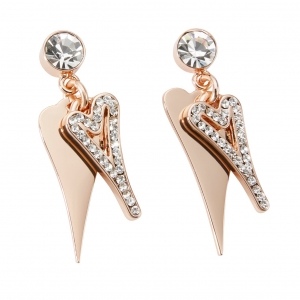 1800694-Miss Dee Boo Style Heart Rose Gold Plated Drop Earrings with Two Hearts and Czech Crystals