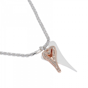 1800696-Miss Dee Silver & Rose Gold Boo Style Heart Necklace With Modern Chain And Czech Crystals