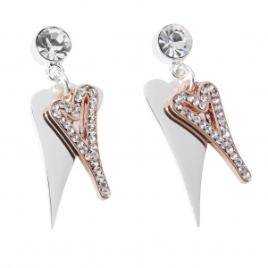 1800698-Miss Dee Boo Style Heart Silver & Rose Gold Drop Earrings With Two Hearts & Czech Crystals