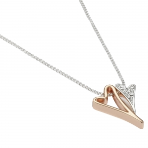 1800705-Miss Dee Silver & Rose Gold Delicate Necklace With Hollow And Diamante Heart pendants