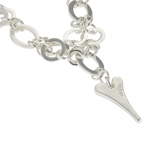 1800711-Miss Dee long 70cm Multi links necklace chain with a solid heart shaped drop pendant