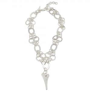 1800712-Miss Dee Silver Multi links necklace chain with a solid heart shaped drop pendant