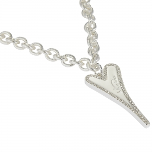 1800714-Miss Dee long 70cm textured links necklace chain with a solid & diamante heart shaped pendant