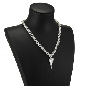 1800716-Miss Dee silver textured links necklace chain with a solid & diamante heart shaped pendant