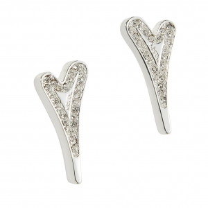 1800718-Miss Dee silver plated heart shaped stud earrings with a row of czech crystals