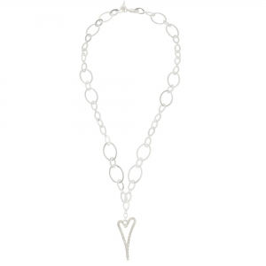 1800720-Miss Dee Long 85cm silver oval shaped necklace chain with a hollow diamante heart drop pendant
