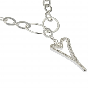 1800721-Miss Dee silver oval shaped necklace chain with a hollow diamante heart drop pendant