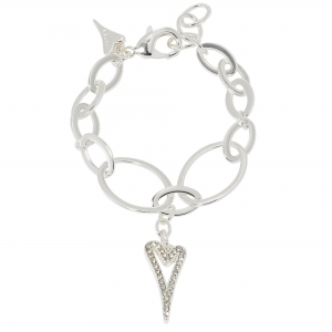 1800722-Miss Dee silver oval shaped Bracelet chain with a hollow diamante heart drop pendant