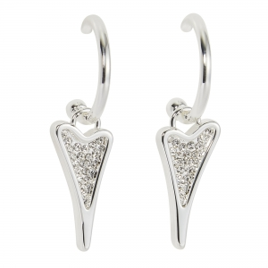 1800725-Miss Dee Silver Hooped Earrings With A Diamante Heart Shaped Drop Pendant