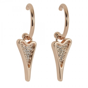 1800726-Miss Dee Rose Gold Hooped Earrings With A Diamante Heart Shaped Drop Pendant