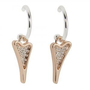 1800727-Miss Dee Silver & Rose Gold Hooped Earrings With A Diamante Heart Shaped Drop Pendant