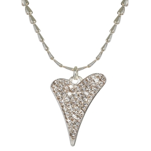 1800470-Miss Dee 1 micron silver plated heart chain necklace with large diamante heart pendant