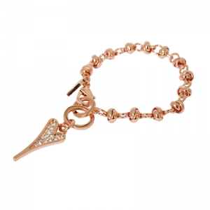 1800414-Miss Dee 14carat Rose Gold CANNES Heart Knot Chain Bracelet