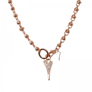 1800415-Miss Dee 14carat Rose Gold Crystal Heart Knot Chain Necklace