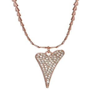 1800467-Miss Dee 14crt rosegold plated heart chain necklace with large diamante heart pendant