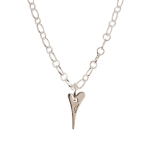 1800407-Miss Dee 1micron Silver Classic Heart Rolo Chain Necklace