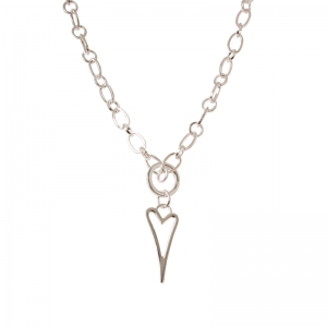 1800400-Miss Dee 1micron Silver Heart Frame Necklace