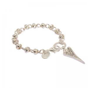 1693492-Miss Dee 1micron Sterling Silver Crystal Heart Knot Chain Bracelet