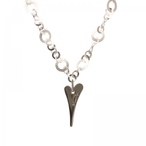 1800138-Miss Dee 1micron Sterling Silver STOCKHOLM Heart Flat Link Chain Necklace