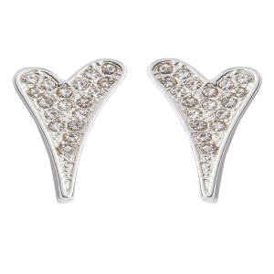 1800471 - Miss Dee 1micron silver plated diamante heart stud earrings
