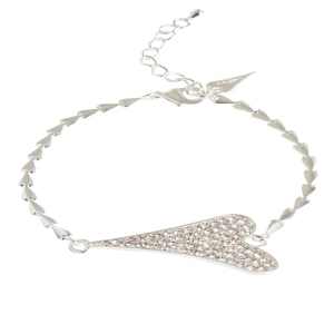 1800472-Miss Dee 1micron silver plated heart chain bracelet with diamante heart