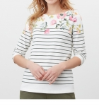 Joules Harbour Long Sleeve Jersey - Cream and Green Stripe