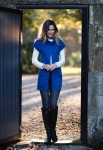 Marble Knitted Gilet Top - Marine Blue