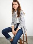 White Stuff - Heather longline Shirt - Blue Multi
