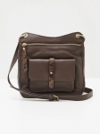 White Stuff Aspen Leather Mix Crossbody - Dark Brown